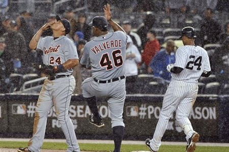 Velverde performs ancient rain dance while Cabrera licks scotch from hand.