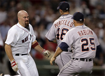Youkilis charging the mound after getting drilled by Tiger's Porcello. How can you not like a guy that attacked a Tigers' player?